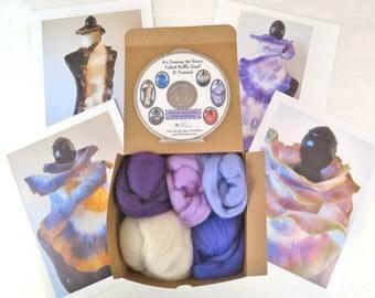 Purple Haze Wet Felted Ruffle Scarf Kit, Merino Wool, Felting Wool, Blue Merino,  Ruffle Scarf Felting Kit, Ruffle Scarf, Felting Tutorial