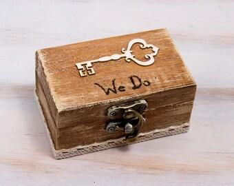Wedding Ring Bearer Box We Do / I Do Ring Box Custom Wedding Box Rustic Ring Bearer Box Engagement Box Pillow Alternative Bridesmaid Gift