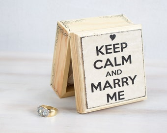 Wedding Ring Bearer Box Wedding Box Engagement Box Wedding Ring Box Pillow Alternative, Keep Calm and Marry Me Proposal Ring Box Ring Holder