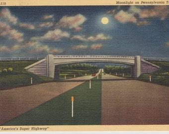 Pennsylvania Turnpike, Pennsylvania, Moonlight - Linen Postcard - Unused (FF)