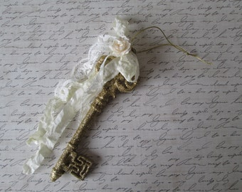 Gold glitter key French seam binding ivory paper rose shabby gold key skeleton key home decor Valentines Day key to my heart cottage style