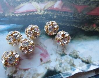 8mm Crystal And Gold Czech Rhinestone Ball Beads 6Pcs.