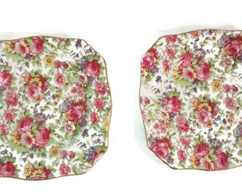 On Sale Vintage English Royal Winton , Summertime , 6 1/8 Inch Bread and Butter Plate, Floral Chintz