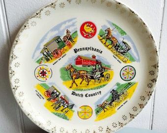 Vintage 1960s Pennsylvania Dutch Country Plate