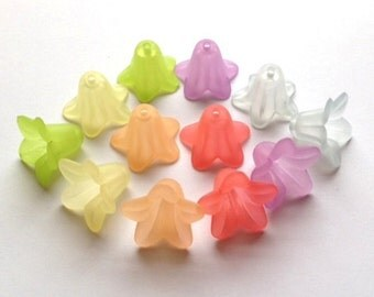 12pc-Pastel Lucite Lily Beads-18mm-Peridot, Pale Yellow, Peach, Coral, Lavender, Soft Blue