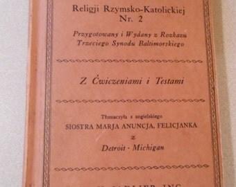 Vintage Katechizm Catholic Catechism Book Polish English W H Sadlier