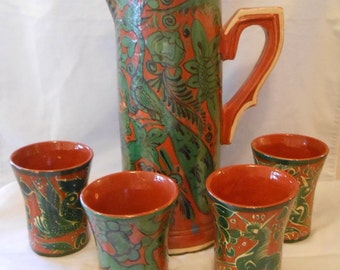 Vintage Tlaquepaque Fantasia Mexican Folk Art Pottery Pitcher