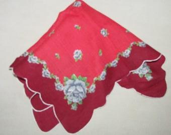 Vintage Flowered Ladies Hankie, Vintage  Handkerchief , Vintage Roses on Handkerchief