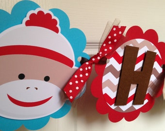 Sock Monkey Birthday Party Banner in Red, Brown and Aqua