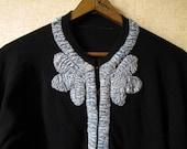 Black Cardigan Vintage 50s wool sweater ruched trim grey blue velvet noir black Mad Men style designer Elizabeth Arden women small