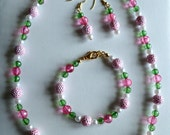 Custom Order for Arlene - 3 piece pink bubble jewelry set - 24 in necklace, bracelet & earrings