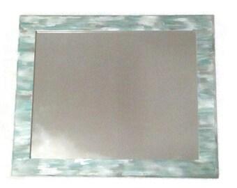 Aqua and grey- blended hand painted mirror, bathroom decor, beach decor, beach house design, grey mirror, seashell mirror, blurry mirror