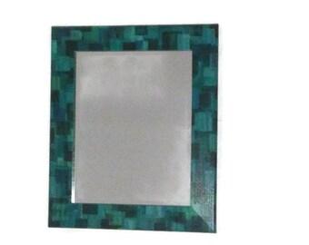 Mirror, Bathroom Mirror,  Teal and Blue Square Mirror, Boys Mirror, Abstract Mirror, Painted Mirror, Mosaic Mirror
