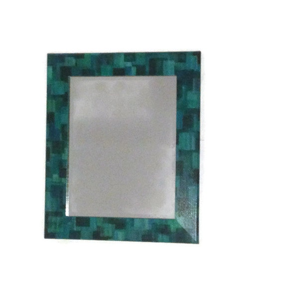 Mirror bathroom mirror teal and blue square mirror boys for Teal framed mirror