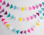 Rainbow Triangle Garland, Triangle Garland, Paper Garland, Paper Triangles, Rainbow Triangles, Birthday Garland, Triangle Bunting