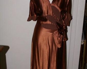 VINTAGE 1940's BRONZE COPPER Satin Dress, Art Deco