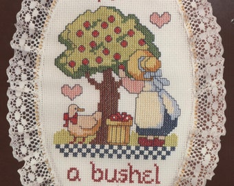 Apples 50 Cents a Bushel Counted Cross-Stitch Kit With Hoop