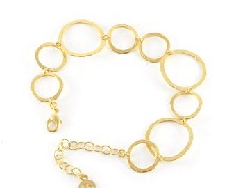 Delicate Gold Hammered Bracelet, gold link bracelet, delicate gold bracelet, gold bracelet, bracelet gold, bridal bracelet, wedding jewelry