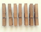 10 Clothespins. Vintage Shabby. Boho. Bohemian. Peg. Country. Stained. Woodland. Country. Gift Wrap. Rustic. Chip Clip. Pins. SET OF 10.