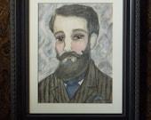 Morris Framed ORIGINAL PAINTING Victorian Inspired Watercolor Illustration 8x10 Bearded Gentleman Illustration