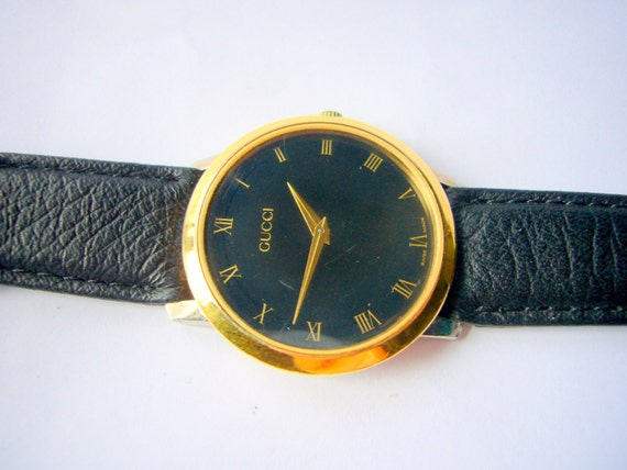 vintage gucci black and gold bracelet watch mens 2200m swiss vintage gucci black and gold bracelet watch mens 2200m swiss wrist watch authentic vintage watch womens