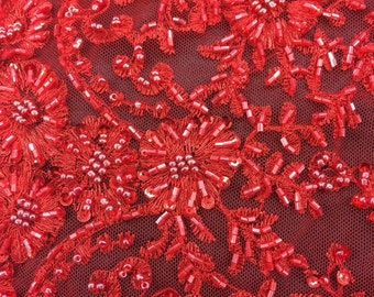 Red Lace Seqins Beaded High End Bridal Lace stem scalloped Dress gowns Fabric By The Yard