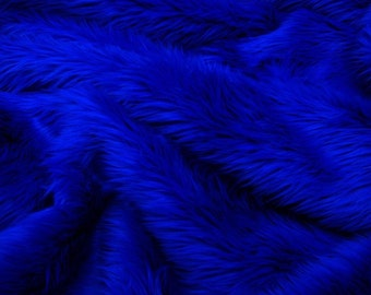 Royal Blue Faux Fur Throw Blanket / Bedspread /  Shaggy Throw /  /All new Sizes