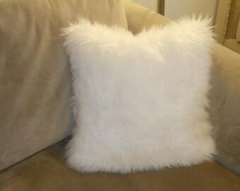 SALE 1 Piece Bright White faux fur cushion  pillow 18x18 premium shaggy with zipper fur pillows sofa bed couch chair throw home decor