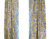 CLEARANCE Citrine Curtains- Pair of Drapery Panels- Premier Prints Summerland Suzani Curtains- 52W x 63L inch Drapes- Modern Home Decor