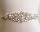 SALE Wedding Belt, Bridal Belt, Sash Belt, Crystal Rhinestone Sash , crystal & pearl