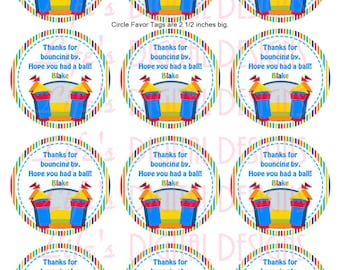 "Bounce House Favor Tags 2.5"" Round Favor Tags Stripes Printable Customizable"