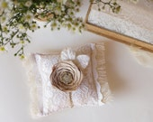 Lace Burlap Ring Bearer Pillow, Vintage Glamour wedding, Shabby Chic, Vintage Inspired Wedding Pillow, French country - Ready to Ship