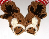 Horse mittens, pony mittens with mane in tan with with brown mane. Multiple sizes available.