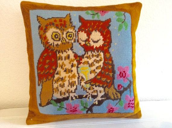 Midcentury Owl Throw Pillow Needlepoint Woodland by mushroommary