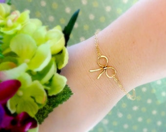 Bridesmaid gifts, Discounted Set of THREE GOLD Bow bracelets, Gold bow jewelry, Tie the Knot bracelets for bridesmaids, bridal party jewelr