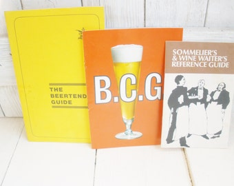 Three vintage bar books beer wine 1970s reference guides