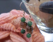 Smoky Quartz and Green Agate Earrings