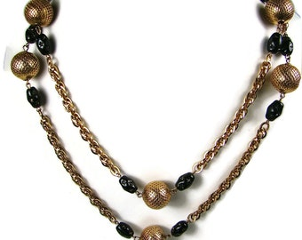 Vintage Gold And Black Necklace With Earrings