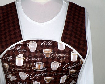 Retro 50s SMOCK APRON - Coffee Time, comfortable all day apron, made-to-order XS to Plus Size