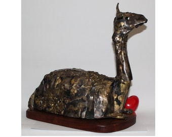 Vintage Hand Made Brazed Sheet Metal Llama on a Wood Base Signed BJ Cornell Estate 1970 LARGE Animal Sculpture Brutalism