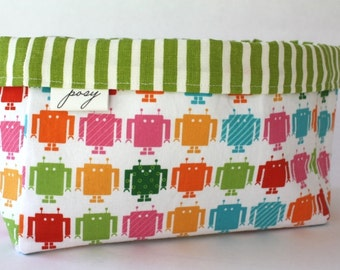 Robot and Stripe Storage Bins, Cloth Bin, Organization, Children's Room