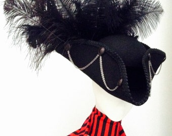 Gothic pirate tricorn hat