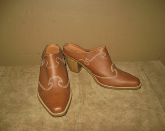 Vintage Caramel Brown Leather Country Western Mules Boots Sz 7 with Stitching Detailing