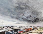 Moody Cloud over Train Yard in Wyoming - 11 x 14 print