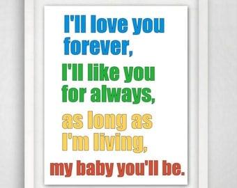 Baby Boy Nursery, Boy Nursery Decor, Nursery Print, Nursery Wall Art, 8x10 Nursery Print, Baby Wall Art, Ill love you forever