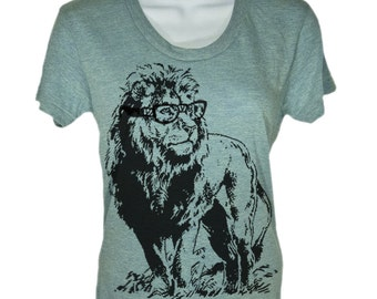 Women's T Shirt Lion Professor T-Shirt - American Apparel Tshirt - S M L Xl (15 Color Options)