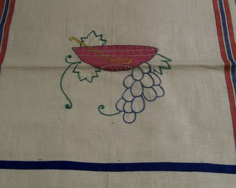 Vintage Kitchen Towel Decorative Embroidery Applied Grapes Your Choice