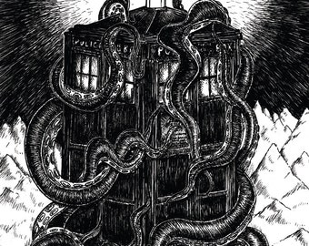 At the Mountains of Madness- Dr Who Tardis and Lovecraft Cthulhu inspired A3 art print poster- FREE WORLDWIDE SHIPPING