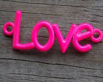 Pink Love Connector Charms, Curved Connector, Neon Enamel, 40mm, 3pcs