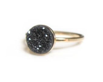 Druzy Black Ring